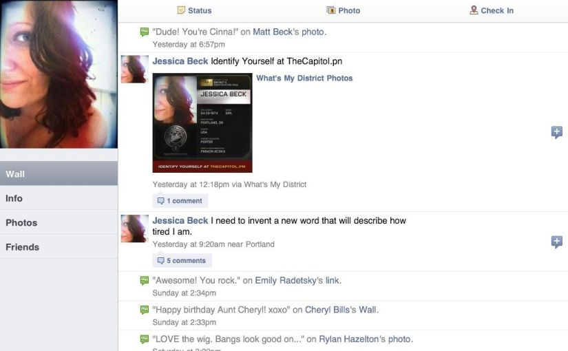 Facebook for iPad profile page